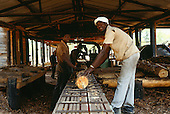 Lukulu, Zambia, Africa. Men working a saw in a sawmill timber cutting shed, in a forest.