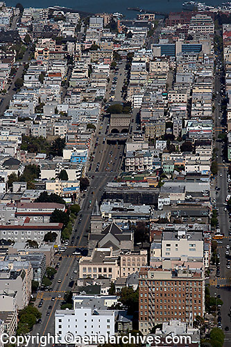 aerial photograph Broadway Pacific Heights residential neighborhood San Francisco California