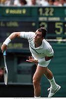 IVAN LENDL, Men's Singles, 1988 Wimbledon Tennis Championships, 8806. Photo: Richard Francis/Action Plus...1988.tennis.serve service serves serving.man