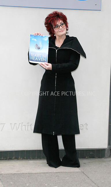 WWW.ACEPIXS.COM . . . . .  ... . . . . US SALES ONLY . . . . .....LONDON, JANUARY 21, 2005....Sharon Osbourne at a news conference for the Tsunami Charity single which is a cover of Eric Clapton's Tears in Heaven. The charity single has contributions so far from Sir Elton John, Velvet Revolver and Andrea Bocelli. Next week, Rod Stewart, Phil Collins, Ozzy and Kelly Osbourne, Gwen Stefani and Gavin Rossdale, Aerosmith's Steven Tyler, Pink, Josh Groban and Robert Downey Jr are to lay down vocals at a further recording session in LA.....Please byline: FAMOUS - ACE PICTURES - F. DUVAL... . . . .  ....Ace Pictures, Inc:  ..Alecsey Boldeskul (646) 267-6913 ..Philip Vaughan (646) 769-0430..e-mail: info@acepixs.com..web: http://www.acepixs.com