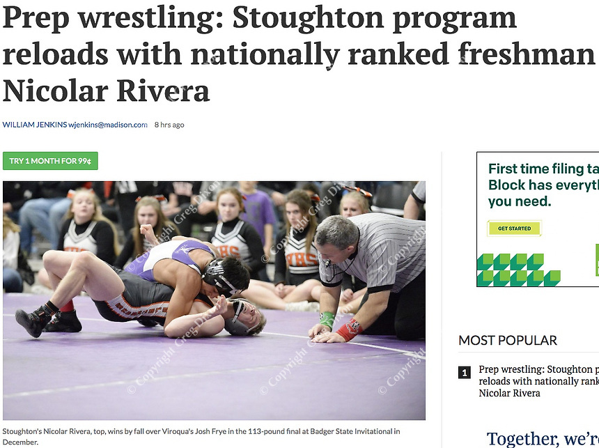 Stoughton's Nicolar Rivera (top) wins by fall over Viroqua's Josh Frye in the 113-pound final, during the Midwest Classic Wisconsin high school wrestling tournament at the Alliant Energy Center on Saturday, 12/22/18, in Madison | Wisconsin State Journal article 1/22/19 page C6 Sports and online at https://madison.com/wsj/sports/high-school/wrestling/prep-wrestling-stoughton-program-reloads-with-nationally-ranked-freshman-nicolar/article_78b2e8e6-0344-57c1-a4ec-3f8361b493c4.html