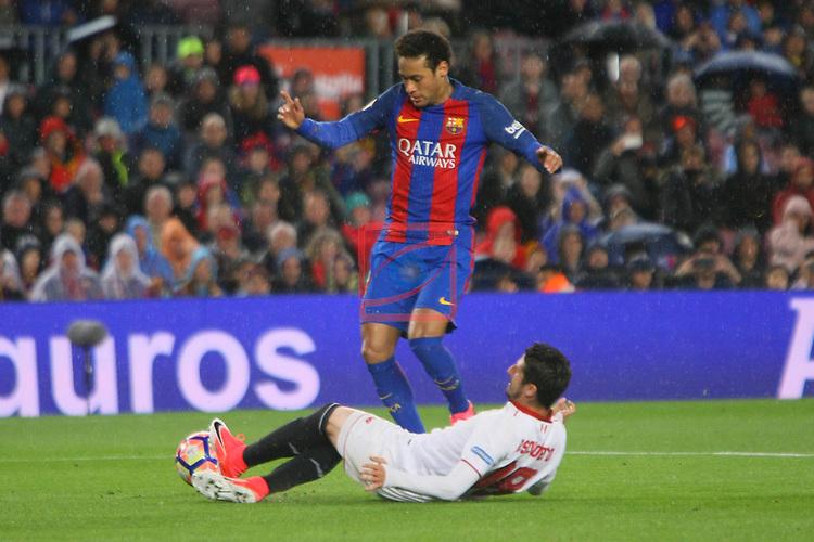 League Santander 2016/2017. Game: 30.<br /> FC Barcelona vs Sevilla FC: 3-0.<br /> Neymar Jr. vs Escudero.