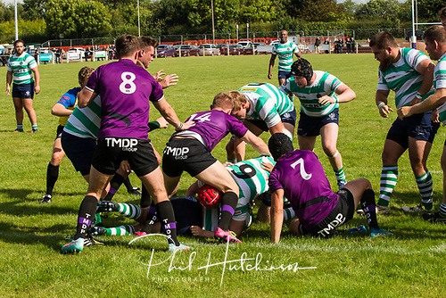 Leicester, England, 9th, September, 2017. <br /> <br /> Action in the National League 2 North rugby union match between Leicester Lions rfc and South Leicester rfc.  Dan Martin,  Samuel Benjamin and Johnny Murdoch defend the Leicester Lions try-line<br /> <br /> <br /> <br /> &copy; Phil Hutchinson