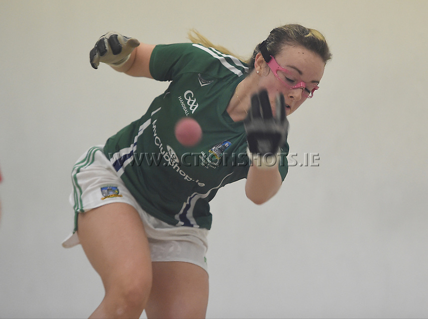 24/09/2016;Myclubshop.ie All-Ireland Handball 60x30 Championship, Ladies Doubles Final, Catriona Casey and Aishling O&rsquo;Keeffe (Cork) vs Martina McMahon and Katie McCarthy (Limerick); GAA Handball Center, Croke Park, Dublin. <br /> Martina McMahon, Limerick.<br /> Photo Credit: actionshots.ie/Tommy Grealy