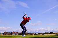 Alex Smalley (USA) on the 2nd tee during the singles matches at the Walker Cup, Royal Liverpool Golf Club, Hoylake, Cheshire, England. 07/09/2019.<br /> Picture Fran Caffrey / Golffile.ie<br /> <br /> All photo usage must carry mandatory copyright credit (© Golffile | Fran Caffrey)