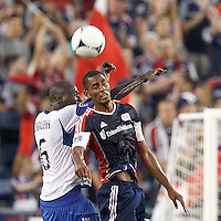 Montreal Impact defender Hassoun Camara (6) and New England Revolution forward Jerry Bengtson (27) battle for head ball. In a Major League Soccer (MLS) match, Montreal Impact defeated the New England Revolution, 1-0, at Gillette Stadium on August 12, 2012.