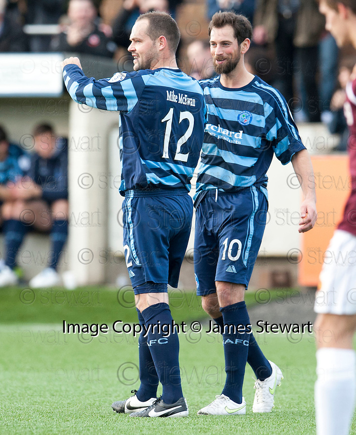 Forfar's Martyn Fotheringham (12) celebrates with Gavin Swankie (10) after he scores their third goal.