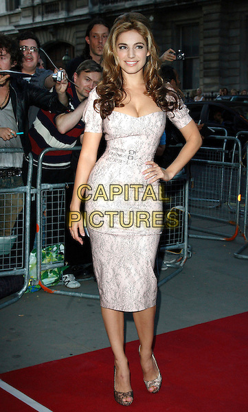 KELLY BROOK.GQ Men Of The Year Awards held at the Royal Opera House, Covent Garden, London, England. .September 8th 2009.full length pale pink grey gray print lace shoes peep toe waist belt buckles cleavage hand on hip .CAP/ROS.©Steve Ross/Capital Pictures.
