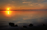 Sunset over Yellowstone Lake, Wyoming.