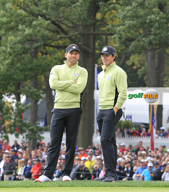 Sergio Garcia and Rory McIlroy during the Foresomes at the Ryder Cup 2012, Medinah Country Club,Medinah, Illinois, USA 28/09/2012.Picture: Fran Caffrey/www.Golffile.ie.