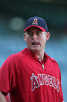 Los Angeles Angels first baseman Mark Trumbo #44 before a game against the Chicago White Sox at Angel Stadium on August 23, 2011 in Anaheim,California. Los Angeles defeated Chicago 5-4.(Larry Goren/Four Seam Images)