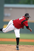 Nashville Sounds pitcher Frankie De La Cruz #34 delivers a pitch during a game against the Omaha Storm Chasers at Greer Stadium on April 25, 2011 in Nashville, Tennessee.  Omaha defeated Nashville 2-1.  Photo By Mike Janes/Four Seam Images