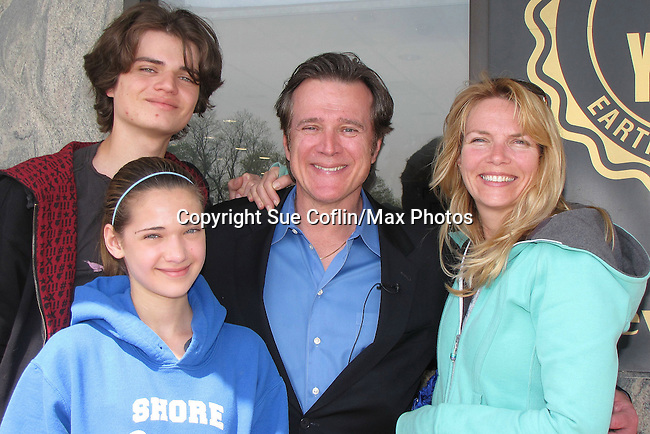 Guiding Light's Frank Dicopoulos poses with his family - wife Teja, son Jaden and daughter Olivia (also was on GL). Frank is the host of the reality show Earth Treasures which airs on NJDiscovery.com filmed at Earth Treasures Jewelry Store in Eatontown, New Jersey in May. Part of the proceeds from the event go to the Ashley Lauren Foundation. (Photo by Sue Coflin/Max Photos)