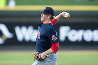 Salem Red Sox starting pitcher Ty Buttrey (46) in action against the Winston-Salem Dash at BB&T Ballpark on June 18, 2015 in Winston-Salem, North Carolina.  The Red Sox defeated the Dash 8-2.  (Brian Westerholt/Four Seam Images)