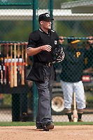 Umpire Andrew Barrett during a Pittsburgh Pirates instructional league intrasquad black and gold game on September 23, 2015 at Pirate City in Bradenton, Florida.  (Mike Janes/Four Seam Images)