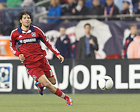 Chicago Fire midfielder Sebastian Grazzini (10) passes the ball. In a Major League Soccer (MLS) match, the New England Revolution defeated Chicago Fire, 2-0, at Gillette Stadium on June 2, 2012.