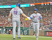 New York Mets center fielder Yoenis Cespedes (52) is congratulated right fielder Jay Bruce (19) after scoring his team's second run in the fifth inning against the Washington Nationals at Nationals Park in Washington, D.C. on Tuesday, September 13, 2016.<br /> Credit: Ron Sachs / CNP<br /> (RESTRICTION: NO New York or New Jersey Newspapers or newspapers within a 75 mile radius of New York City)
