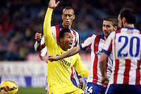 Miranda and Gabi of Atletico de Madrid and Uche of Villarreal during La Liga match between Atletico de Madrid and Villarreal at Vicente Calderon stadium in Madrid, Spain. December 14, 2014. (ALTERPHOTOS/Caro Marin) /NortePhoto