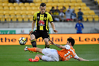 Wellington Phoenix&rsquo; Scott Galloway and Brisbane&rsquo;s Mitchell Oxborrow in action during the A League - Wellington Phoenix v Brisbane Roar FC at Westpac Stadium, Wellington, New Zealand on Saturday 28 October.<br /> Photo by Masanori Udagawa. <br /> www.photowellington.photoshelter.com
