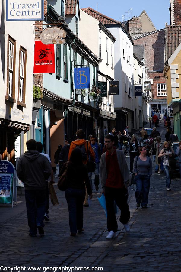 Narrow cobbled street, Bedford Street, Norwich, England