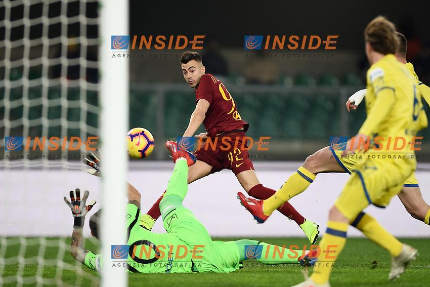 Stephan El Shaarawy of AS Roma scores goal of 0-1 <br /> Verona 8-2-2019 Stadio Bentegodi Football Serie A 2018/2019 Chievo Verona - AS Roma <br /> Foto Image Sport / Insidefoto