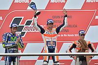 Termas De Rio Hondo (Argentina) 03/04/2016 - gara Moto GP / foto Luca Gambuti/Image Sport/Insidefoto<br />nella foto: Marc Marquez-Valentino Rossi-Dani Pedrosa