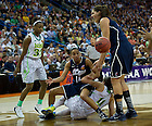 Apr 7, 2013; Natalie Achonwa and Connecticut Bria Hartley battle for the rebound during the semifinals of the 2013 NCAA women's basketball Final Four at the New Orleans Arena. Connecticut defeated Notre Dame 83 to 65. Photo by Barbara Johnston/ University of Notre Dame