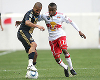 Fred #7 of the Philadelphia Union pulls the ball away from Dane Richards #19 of the New York RedBulls during a MLS  match on April 24 2010, at RedBull Arena, in Harrison, New Jersey. RedBulls won 2-1.