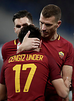 Calcio, Serie A: AS Roma - Benevento, Roma, stadio Olimpico, 11 gennaio 2018.<br /> Roma's Cengiz Under (l) celebrates with his teammate Edin Dzeko (r) after scoring during the Italian Serie A football match between AS Roma and Benevento at Rome's Olympic stadium, February 11, 2018.<br /> UPDATE IMAGES PRESS/Isabella Bonotto