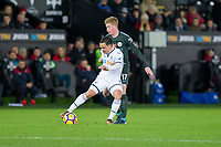Roque Mesa of Swansea City and Kevin De Bruyne of Manchester City during the EPL - Premier League match between Swansea City and Manchester City at the Liberty Stadium, Swansea, Wales on 13 December 2017. Photo by Mark  Hawkins / PRiME Media Images.