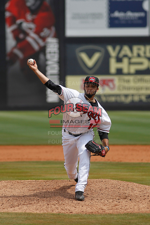 Carolina Mudcats pitcher Marcos Diplan (18) on the mound during a game against the Down East Wood Ducks on April 27, 2017 at Five County Stadium in Zebulon, North Carolina. Carolina defeated Down East 9-7. (Robert Gurganus/Four Seam Images)