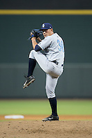 Wilmington Blue Rocks relief pitcher Matt Alvarez (30) in action against the Winston-Salem Dash at BB&T Ballpark on July 30, 2015 in Winston-Salem, North Carolina.  The Dash defeated the Blue Rocks 7-3.  (Brian Westerholt/Four Seam Images)