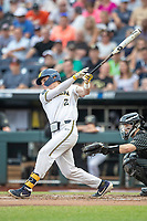 Michigan Wolverines shortstop Jack Blomgren (2) follows through on his swing against the Vanderbilt Commodores during Game 2 of the NCAA College World Series Finals on June 25, 2019 at TD Ameritrade Park in Omaha, Nebraska. Vanderbilt defeated Michigan 4-1. (Andrew Woolley/Four Seam Images)