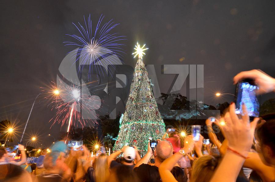 SAO PAULO, SP, 28.11.2015 - INAUGURAÇÃO DA ÁRVORE DE NATAL DO IBIRAPUERA: Inauguração da árvore de natal do Parque do Ibirapuera, na zona sul de São Paulo, na noite deste sabado, 28. Com 35 metros de altura e 15 de diâmetro, é a menor árvore de natal desde que começou ser exibida em 2002.(Foto: Levi Bianco/Brazil Photo Press)