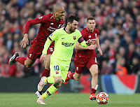 Barcelona's Lionel Messi gets away from Liverpool's Fabinho<br /> <br /> Photographer Rich Linley/CameraSport<br /> <br /> UEFA Champions League Semi-Final 2nd Leg - Liverpool v Barcelona - Tuesday May 7th 2019 - Anfield - Liverpool<br />  <br /> World Copyright © 2018 CameraSport. All rights reserved. 43 Linden Ave. Countesthorpe. Leicester. England. LE8 5PG - Tel: +44 (0) 116 277 4147 - admin@camerasport.com - www.camerasport.com