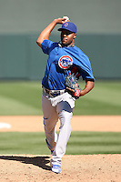 Jay Jackson #65 of the Chicago Cubs pitches against the Arizona Diamondbacks in a spring training game at Salt River Fields on March 13, 2011 in Scottsdale, Arizona. .Photo by:  Bill Mitchell/Four Seam Images.