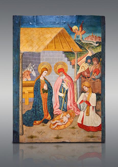 Gothic altarpiece ofthe Nativity from the workshop of Taller de Pere Garcia de Benavarri, circa 1475, tempera and gold leaf on for wood, from the church of Nostra Senyora de Baldos de Montanyana, Osca.  National Museum of Catalan Art, Barcelona, Spain, inv no: MNAC   114750-1.