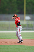 GCL Nationals third baseman Jose Sanchez (8) throws to first base during the second game of a doubleheader against the GCL Marlins on July 23, 2017 at Roger Dean Stadium Complex in Jupiter, Florida.  GCL Nationals defeated the GCL Marlins 1-0.  (Mike Janes/Four Seam Images)