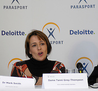 Queens Club, GREAT BRITAIN,  Dame Tanni GREY-THOMPSON during the  press Conference to announce the joint initiative between British Paralympic Association and Deloitte  of 'www.Parasport.org.uk' online information service, on Thur's.  03.05.2007. London. [Credit: Peter Spurrier/Intersport Images]