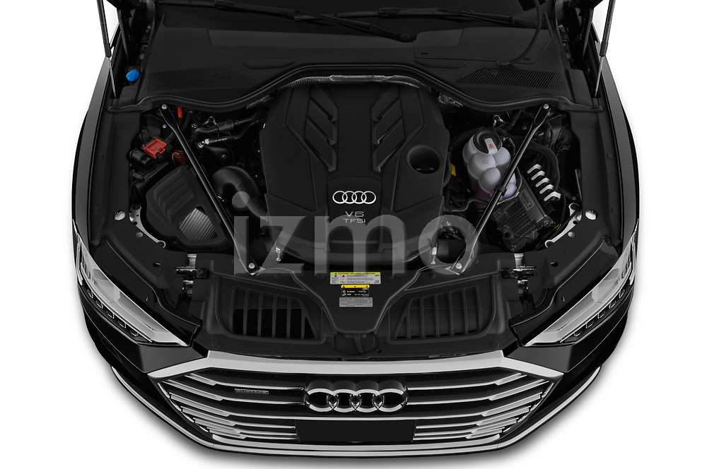 Car Stock 2019 Audi A8-L Avus-Extended 4 Door Sedan Engine  high angle detail view
