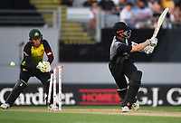 Kane Williamson is bowled by Agar.<br /> New Zealand Black Caps v Australia.Tri-Series International Twenty20 cricket final. Eden Park, Auckland, New Zealand. Wednesday 21 February 2018. &copy; Copyright Photo: Andrew Cornaga / www.Photosport.nz