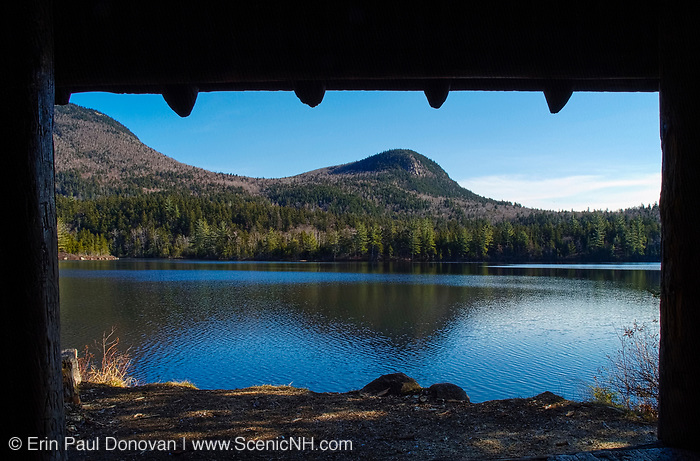 Sawyer Pond  Shelter / Campsite  located on the edge of Sawyer Pond in the beautiful scenic landscape of the White Mountain National Forest of New Hampshire USA. Sawyer Pond is a eight man shelter. The campsite also has tent platforms around it.