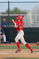 Franklin Torres (7) of the AZL Angels bats during a game against the AZL Rangers at the Texas Rangers Spring Training Complex on July 1, 2015 in Surprise, Arizona. Rangers defeated the Angels, 3-1. (Larry Goren/Four Seam Images)
