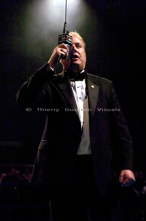 Ring announcer Joe Antonacci in the ring before the start of a Showtime boxing card at the Foxwoods Resort Casino  in Mashantucket, CT, on 05.06.2005..
