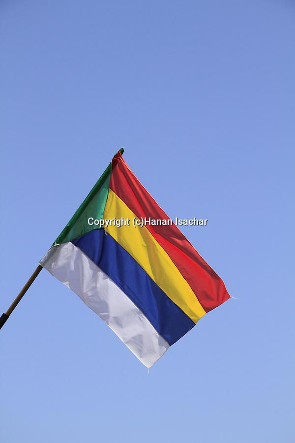 Israel, Lower Galilee, the Druze flag in Nabi Shueib