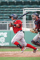 Boston Red Sox Alberto Schmidt (29) at bat in front of catcher AJ Murray during an Instructional League game against the Minnesota Twins on September 23, 2016 at JetBlue Park at Fenway South in Fort Myers, Florida.  (Mike Janes/Four Seam Images)