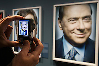 Photokina in Cologne ist the World's biggest bi-annual photo fair..Photo exhibition at Hall 1..Portraits of politicians by Platon. Silvio Berlusconi.