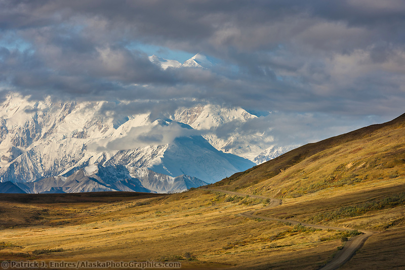 Denali park road traverses the autumn tundra of Thorofare flats, and the partially cloud-obscured summit of Denali rises high on the horizon.