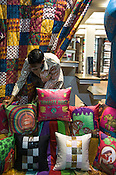 Colourful cushions at the Shahnaz store in Mumbai, India. Photo: Sanjit Das/Panos