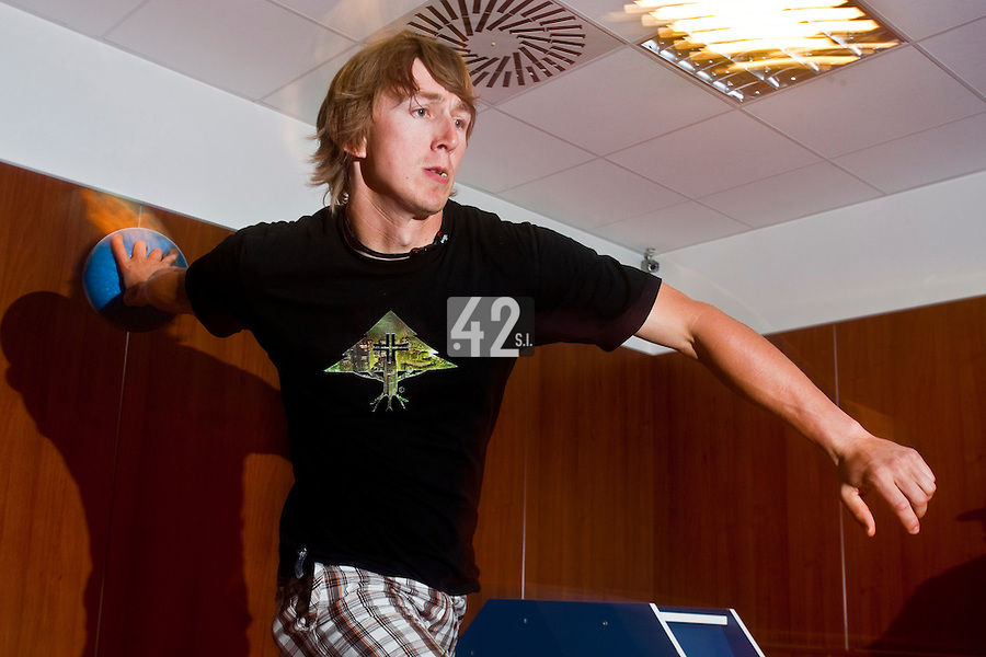 01 June 2010: Luc Piquet of Rouen playing bowling the day before the start of the 2010 Baseball European Cup in Brno, Czech Republic.